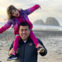 Jimmy Chau at the Oregon Coast with his daughter.