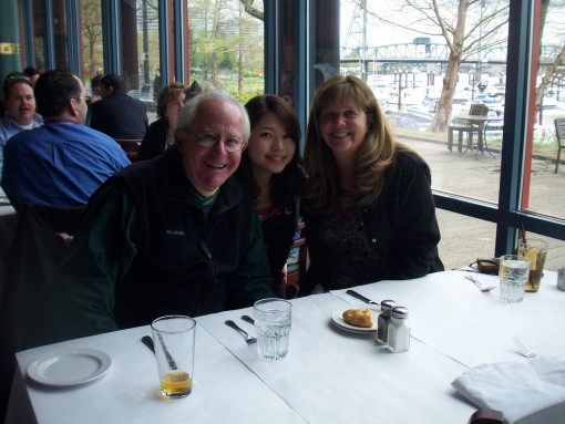 Wendy and Rod Bond, Community Friends volunteers, enjoy a Portland waterfront good-bye dinner wit...