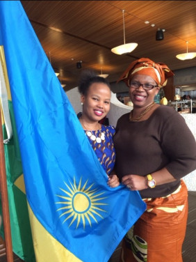 Dallaire Scholar, Pascaline Umulisa, and Auntie Nelly Dande from Kenya, at the Rwandan dinner bef...