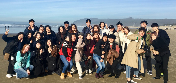 Students from Konkuk University in South Korea enjoyed a trip to Canon Beach during their three-w...