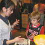 Akane shows her family how to make traditional Japanese sushi.