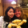 Wendy and Misaki enjoy dinner together in Japan.