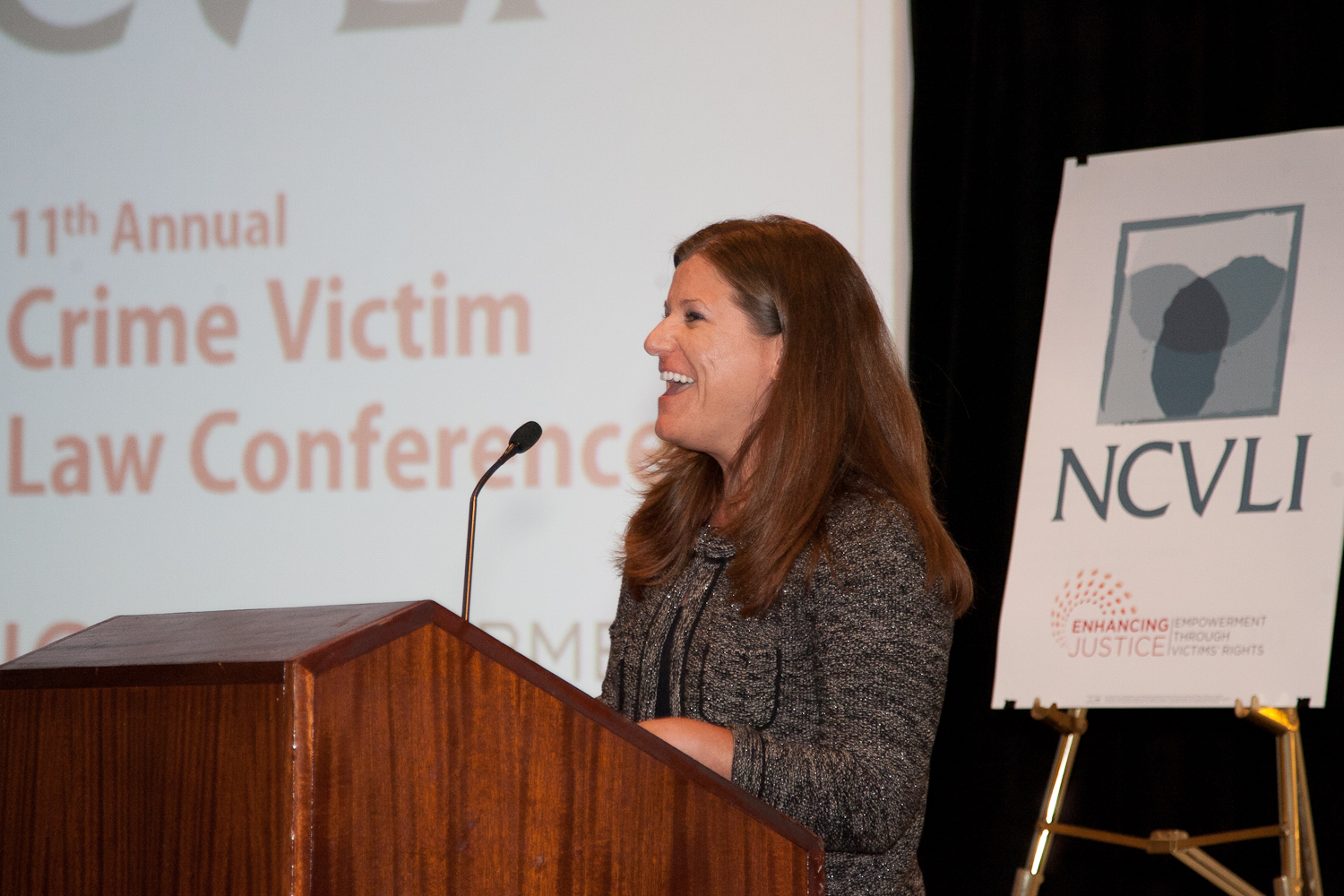 Jennifer Storm, author and executive director of the Victim/Witness Assistance Program in Harrisburg, Pennsylvania, accepts the 2012 Gail Burns-Smith Excellence in Victim Services Award.