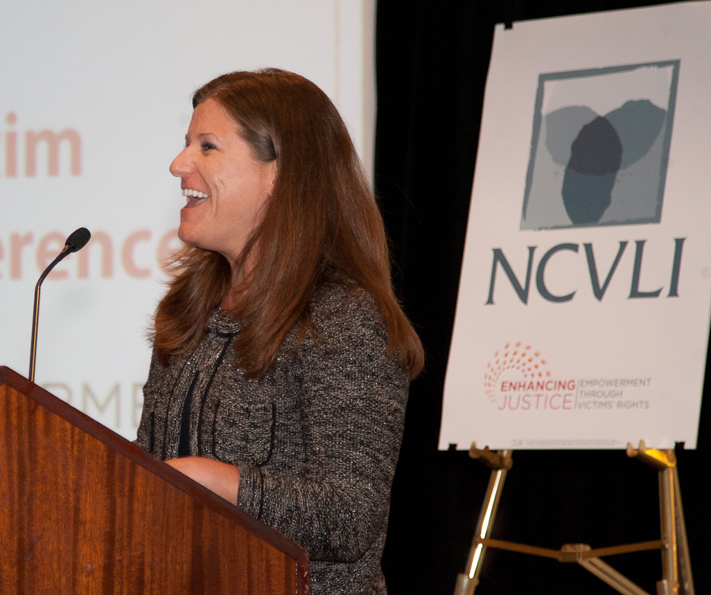 Jennifer Storm, author and executive director of the Victim/Witness Assistance Program in Harrisburg, Pennsylvania, accepts the 2012 Gail Burns-Smith Excellence in Victim Services Award at the 11th Annual Crime Victim Law Conference.