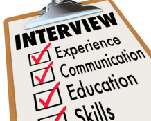 Interview qualifications a job candidate must possess on a checklist clipboard including experien...