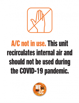 Sample sign indicates A/C unit is not in use.