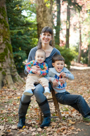 Assistant Professor of Sociology Sarah Warren and her two boys Paco (age 3) and Casper (age 10 mo...