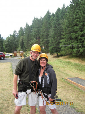 Heyke and her husband Sete Baker on a recent zip line adventure.