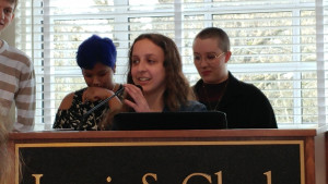 Sarit Cahana, co-founder of the Disabled Student Union, spoke at the 2018 Student Leadership and ...
