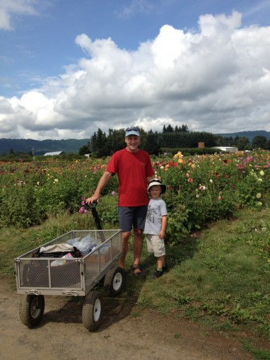 Peter Mortola and his son Riley with a completely different set of wheels at Sauvie Island col...