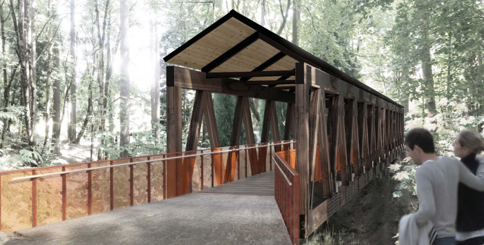 An architectural rendering of the Howard Bridge shows a gabled roof to keep the bridge deck dry a...