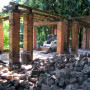 The stones and bricks under the Grape Arbor in the historic gardens had shifted over the years du...