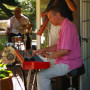 A band entertains partygoers near the house