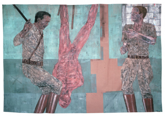 Leon Golub, Interrogation I (2), 1980-81, Acrylic on linen, 120 x 176 inches, The Broad Art Found...