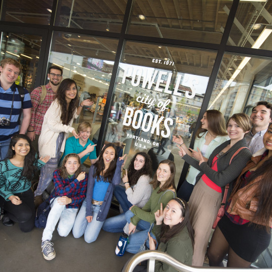 L&C students in front of Powell?s Books.