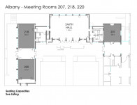 The three meeting rooms in Albany Quadrangle equipped with wireless internet and audiovisual technology.