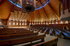 Room area 5,250 sq. ft. Agnes Flanagan Chapel has fixed seating for 402 and 829 sq. ft. of perfor...