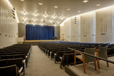 Room area 3,000 sq. ft. Evans Auditorium has fixed seating for 378 and a performance area with 1,780 sq. ft.