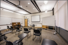This classroom in JR Howard Hall is an example of one of our smaller venues.
