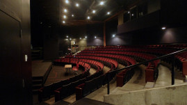 The main stage theatre has fixed seating for 229, plus two wheelchair-accessible seats.