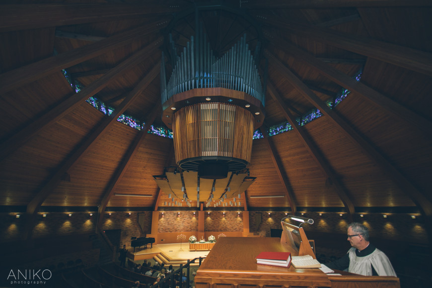 The Agnes Flanagan Chapel organ in mid-play.