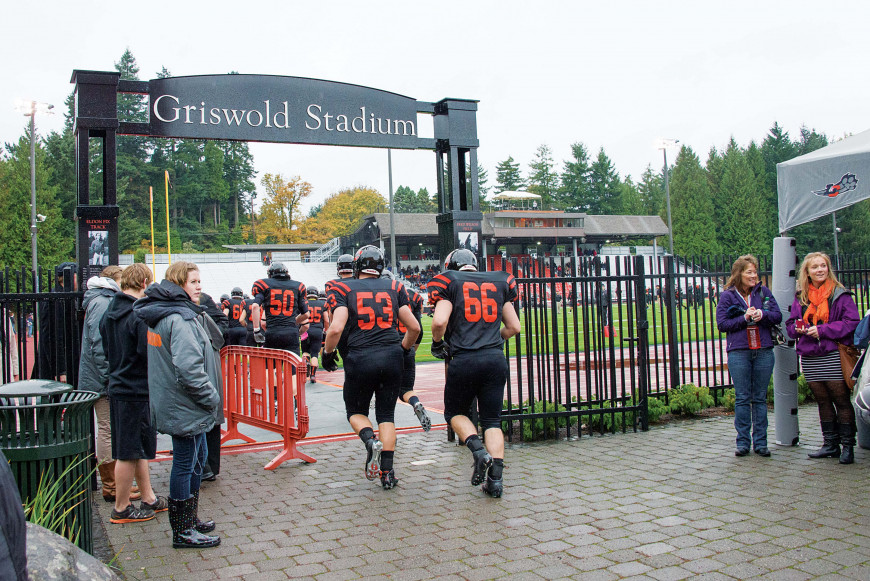 And they're off! Griswold Stadium ready for game day.