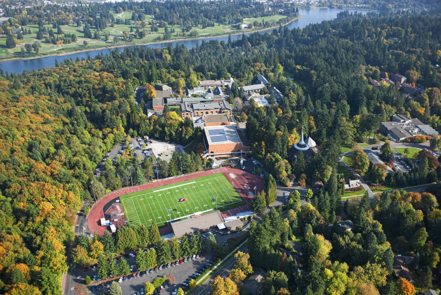 Uniquely nestled amongst the trees, Griswold Stadium is a practical and picturesque location for ...