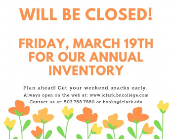 The Bookstore will be closed this Friday, March 19th, for our annual inventory. Plan ahead and ge...