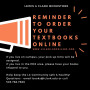 Text reminding students to order their textbooks for Spring Term online for delivery or pick-up. ...