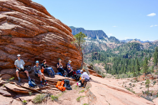 Students explore Zion's Subway during a canyoneering section.