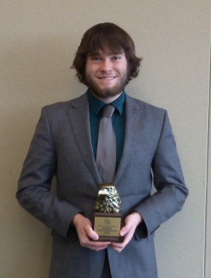 Ben Mann '14, winner of the Northwest Forensics Conference's top individual honor.