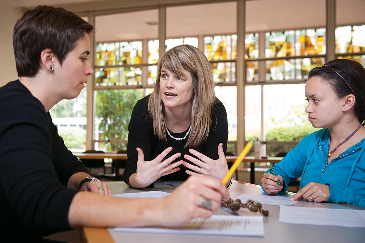 Kasi Allen, associate professor of teacher education, helps her students relearn math for their teaching careers.