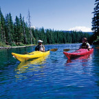 Kyle Miller ?10 (left) and Rachael Skinner-Green ?10 strike out to kayak Waldo Lake, rated the fo...