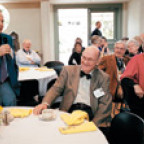 Norm Glenn ?55, a member of the 1955 Golden Reunion planning committee, delights the crowd during...