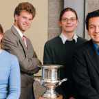 Parliamentary debate champions Meredith Price ?07, Paul Bingham ?05, Mitch Stromberg ?05, and Lan...