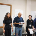 Reiko Hillyer, associate professor of history (second from left), teaches L&C?s Inside-Out co...