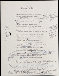 "An early draft of ""Returned to Say,"" written in April 1956 and published in Traveling through..."
