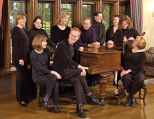Clockwise, from center front: Forrest Pierce (founding director), Carol Biel (piano), Elisa Boynton (violin), Stephanie Thompson (piano), Nancy Teskey (flute), Lee Garrett (organ), George Skipworth (conductor), Orla McDonagh (piano), Anna Haagenson (voice), and Susan McBerry (voice).