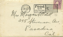 "Letter from December 1917 to Ruth Odell from Morgan with the postmark ""Food will win the war, don't waste it."""
