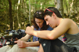 Associate Professor Elizabeth Safran and Max Haworth  photograph soil samples.