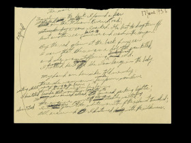"Manuscript draft of ""Traveling through the Dark,"" written at Yaddo artists' community in New York in June 1956."
