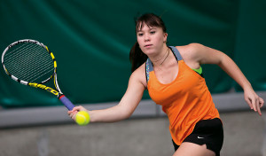 Summer Garrison CAS '18, the first women's tennis player to qualify for the NCAA Division III T...