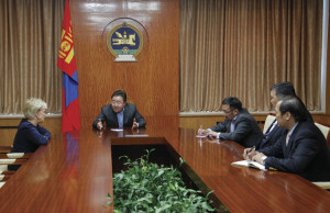 Myrna Ann Adkins with Tsakhiagiin Elbegdorj, president of Mongolia, and other dignitaries.