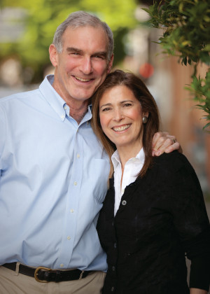 Irving Levin and Board Chair Stephanie Fowler MA '97