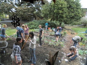 PEAS residents and the student-run Garden Club work together in the campus gardens.