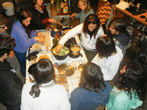 Members of the PEAS community learn to cook locally harvested food at Tryon Life Community Farm.