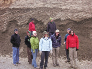 Top: Students in Liz Safran's Spatial Problems in Geology class prepare to study a gravel deposit...