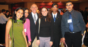 From left: Soniya Deshmukh '07, Dorra Zairi '07, Greg Caldwell, director of international student...