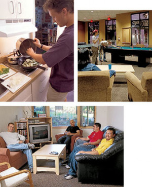 Above (clockwise from top left): Each suite contains a kitchen for preparing a home-cooked meal. ...
