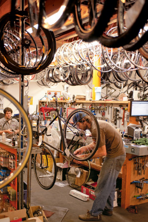 Tonkin on the job at his shop, Sellwood Cycle Repair.